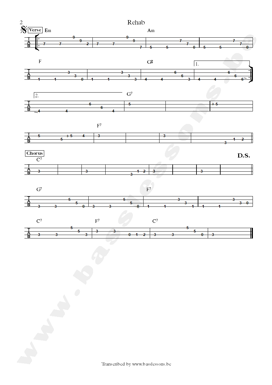 Amy Winehouse - Rehab - Bass tab part 2