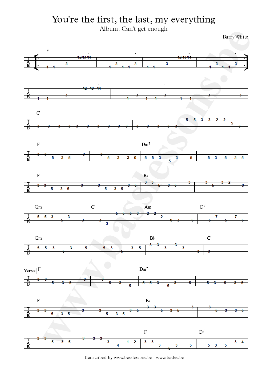 Barry White bass tab