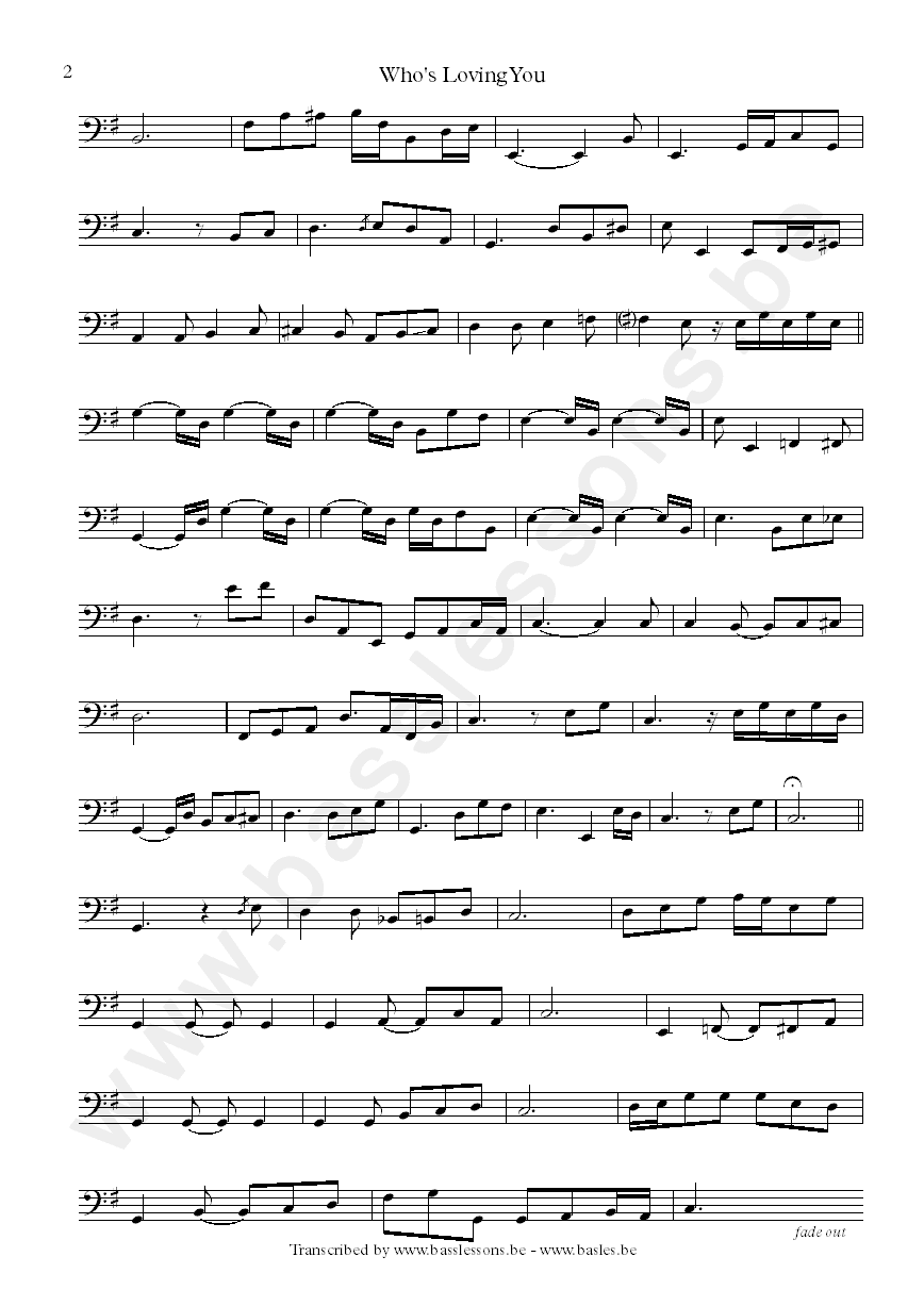 Motown bass Transcription