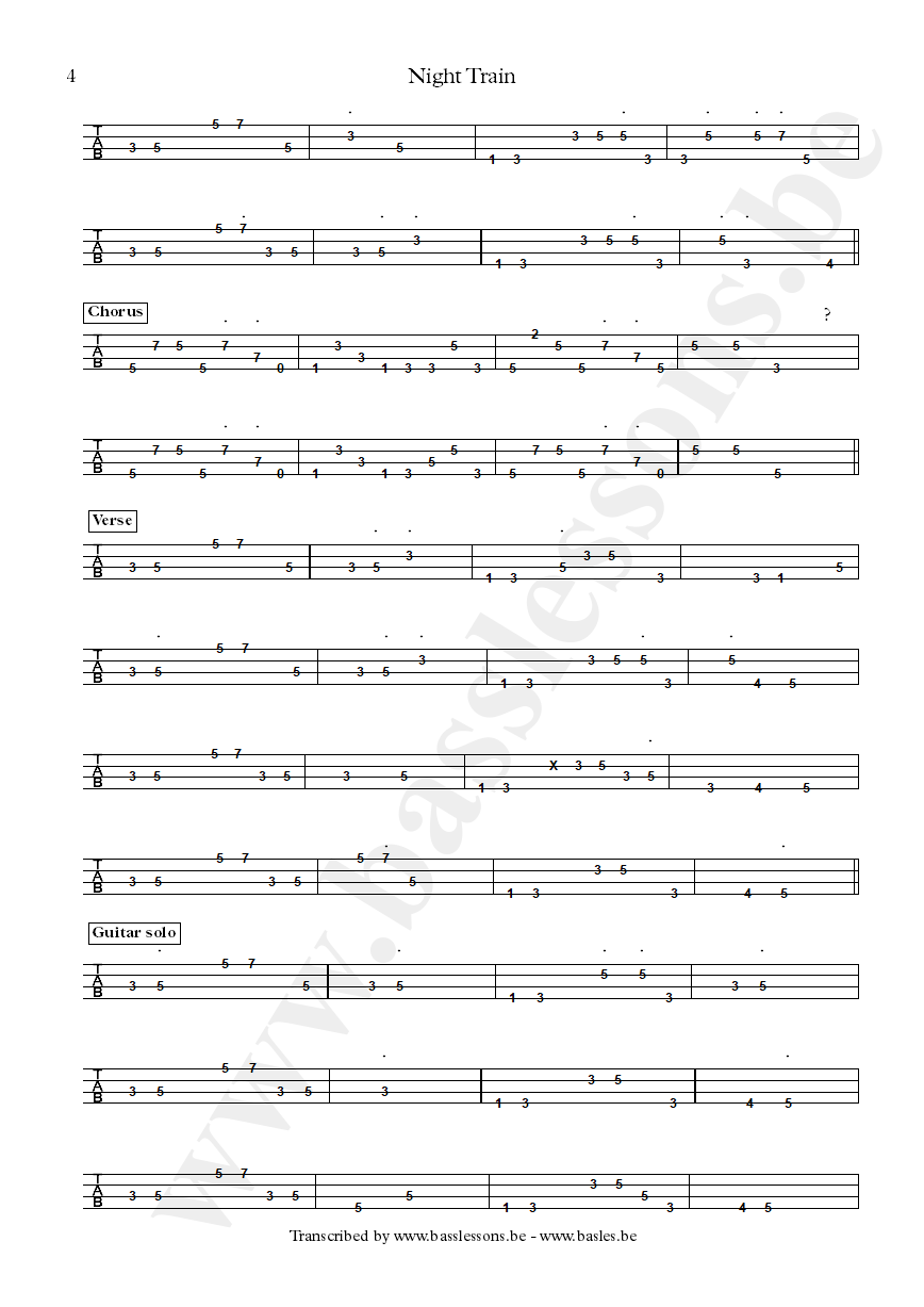 Steve Winwood - Night Train - Bass tab part 5