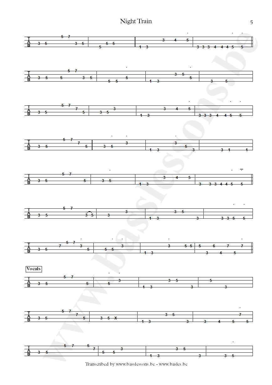 Steve Winwood - Night Train - Bass tab part 6