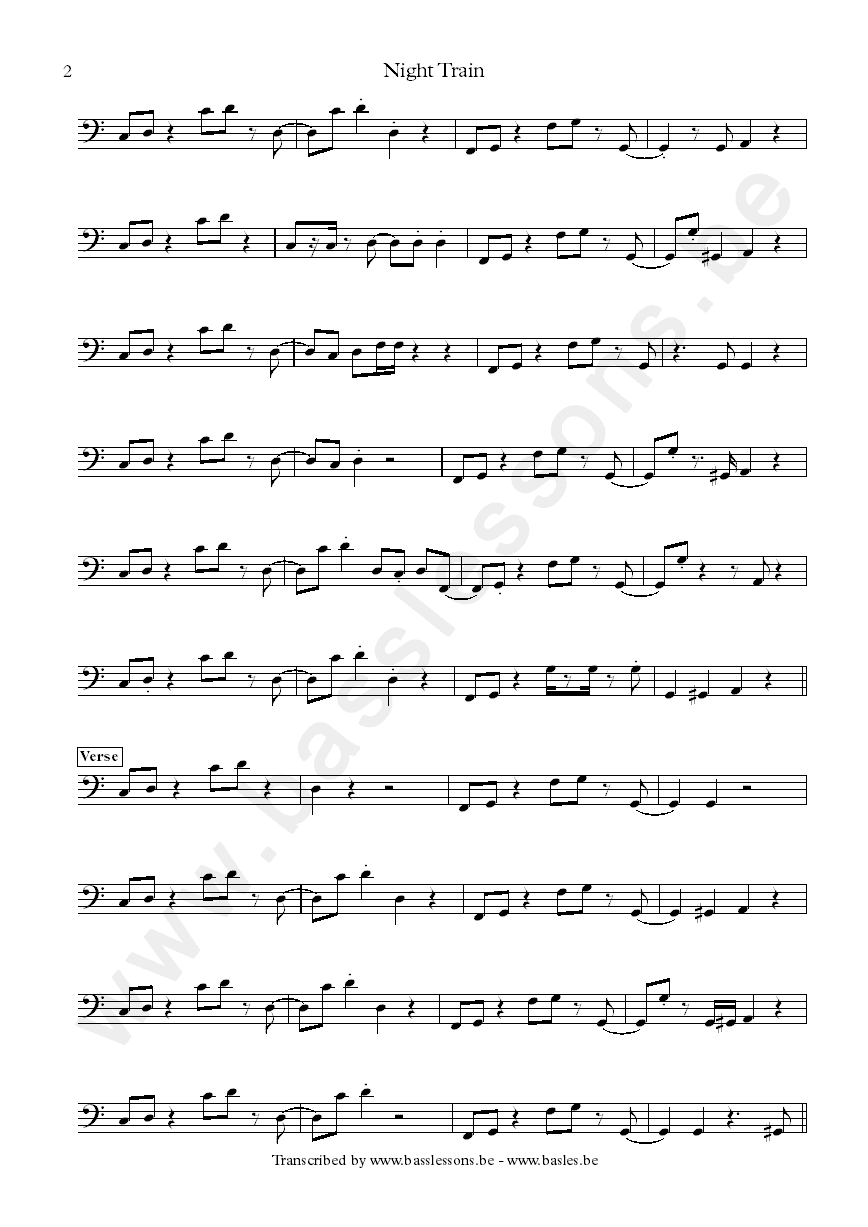 Steve Winwood Night Train bass transcription