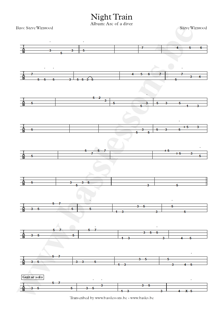 Steve Winwood - Night Train - Bass tab part 2